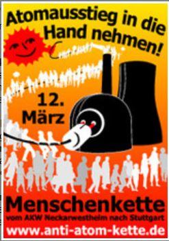 Plakat Menschenkette Neckarwestheim- Bild © Bund.net