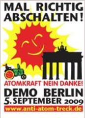 Plakat zur Anti-Atom-Demo Berlin 05.09.2009