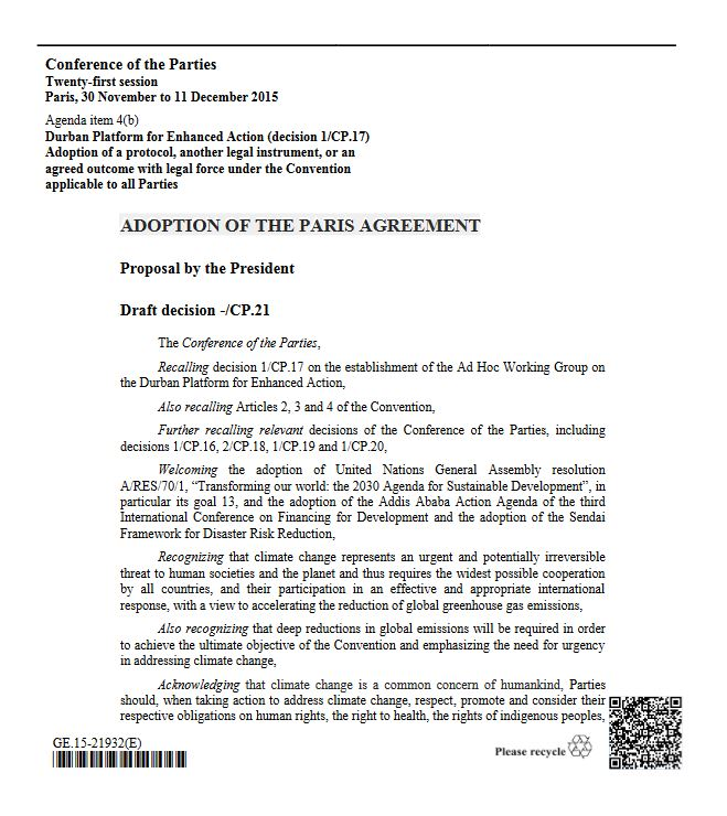 ADOPTION OF THE PARIS AGREEMENT - Title