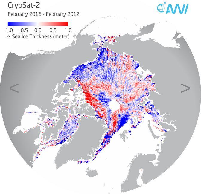 Regionen mit duennerer (blau) oder dickerer (rot) Meereisdicke im Februar 2016 im Vergleich zu 2012 - Grafik © Stefan Hendricks, AWI