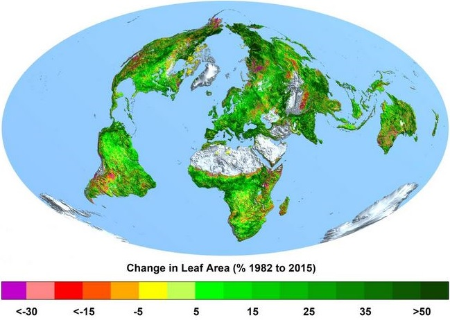 Veränderungen der Grünflächen 1982-2015- Bild © Boston University, Ranga Myneni