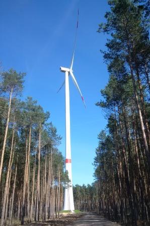Windgenerator im Wald bei Dahme, Mark - Foto © Gerhard Hofmann, Agentur Zukunft, 20160402