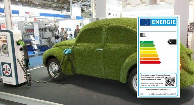 'Grünes' Auto mit Energielabel- Foto_Montage © Gerhard Hofmann, Agentur Zukunft für Solarify