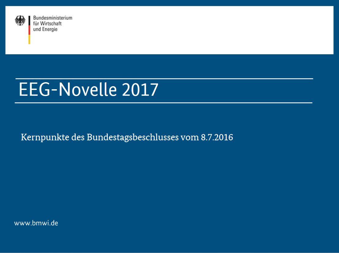 EEG-Novelle 2017 -Titel © www.BMWi.de