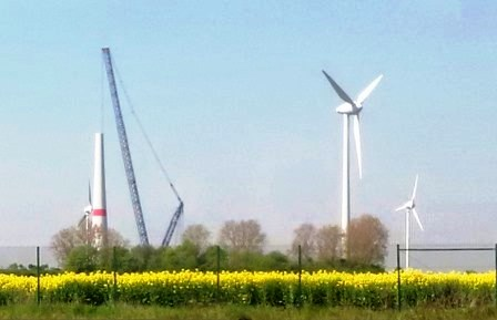 Windturbine im Bau plus Rapsfeld am Bf. Großkorbetha, S-Anh - Foto © Gerhard Hofmann, Agentur Zukunft für Solarify