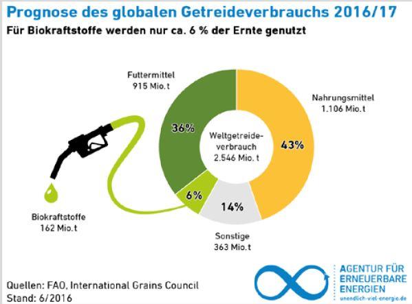 Prognose des globalen Getreideverbrauchs 2016-2017 - Grafik © FAQ-AEE, International grains Council, Stand 6-2016