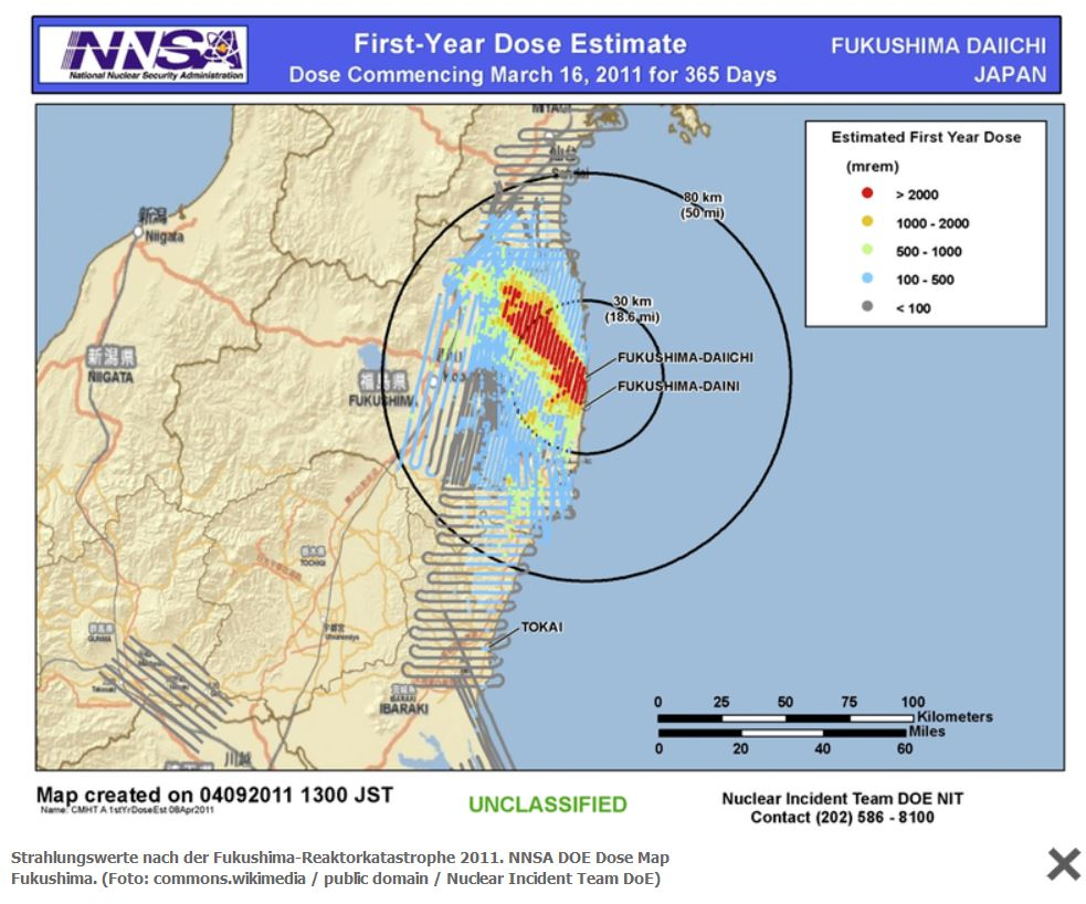Strahlungswerte nach der Fukushima-Reaktorkatastrophe 2011. NNSA DOE Dose Map Fukushima - Foto © commons.wikimedia / public domain / Nuclear Incident Team DoE